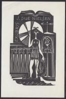 Dušan Janoušek (1928-1966): Ex libris Nielsen. Fametszet, papír, jelzett, 10×6 cm