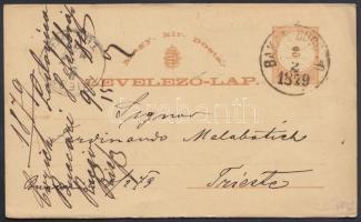 1879 Díjjegyes levelezőlap BAKAR - BUKARI - TRIEST