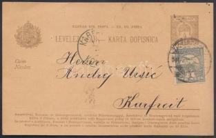 1901 Díjkiegészített kétnyelvű díjjegyes levelezőlap Zágrábból