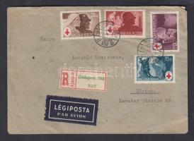 1944 Vöröskereszt sor cenzúrás ajánlott légi levélen Svájcba