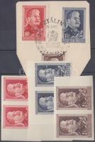 1949/1950 Sztálin vágott ívszéli párok + sor papírra ragasztva alkalmi bélyegzéssel (7.500)