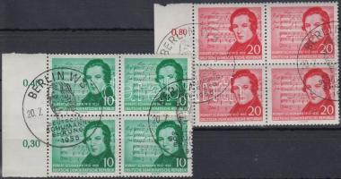 1956 Schumann sor ívszéli négyestömbökben Mi 528-529