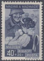 1939 Magyar a magyarért 40+20 értékszámnál fehér folt (10.000)