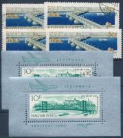 1964 2 db Erzsébet híd 30f tévnyomat + támpéldányok + 2 blokk