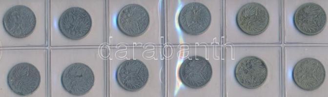 Ausztria 1893-1916. 10h (12x) T:vegyes Austria 1893-1916. 10 Heller (12x) C:mixed