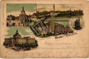 München, National Museum, Luitpold Brücke, Justizpalast, K. Residenz, Armee-Denkmal / museum, bridge, palace of justice, residence, monument, litho (EK)