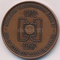 Fritz Mihály (1947-) 1997. 75 éves az ÁÉB Bank Rt. Br emlékérem eredeti tokban (42,5mm) T:1-,2