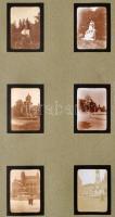 cca 1920 Budapest, 12 db szépen fényképezett városkép. Irredenta szobrok a Szabadság téren, részletek a várból. Berakólapon.