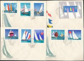 Sailing race set + block 4 FDC, Vitorlás verseny sor + blokk 4 db FDC-n