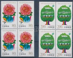 International Horticultural Exhibition set blocks of 4, Nemzetközi Kertészeti Kiállítás sor négyes tömbökben