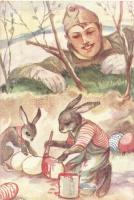WWII military Easter, soldier, rabbits s: Márton L., Márton L.-féle Cserkészlevelezőlapok Kiadóhivatala