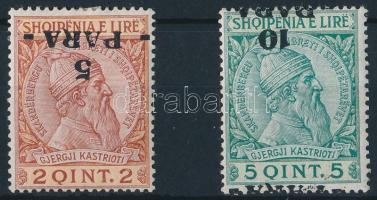 1914 Forgalmi sor 2 értéke fordított felülnyomással Mi 41-42