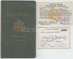 1973 Amerikai Egyesült Államok útlevele jugoszláv születésű hölgy (Nemzetes vitéz Huckaby K. Margit) részére, pp.:20, 16x10cm + Honolulu-i személyi azonosító ujjlenyomattal+gépjármű igazolás / US. passport for Yugoslav-born lady (Nemzetes vitéz Huckaby K. Margit) , pp.:20, 16x10cm+ State of Hawai Identification Certificate+ Certificate of renewal