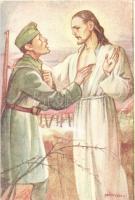 WWII Hungarian soldier, Jesus s: Márton L., Márton L.-féle Cserkészlevelezőlapok Kiadóhivatala, s: Márton L.