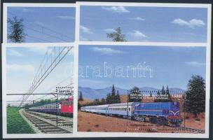 Locomotives mini sheet set + blockset, Mozdonyok kisívsor + blokksor
