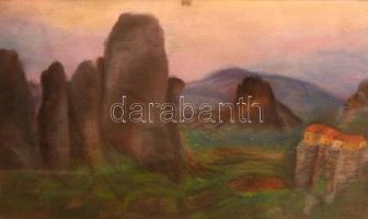 Pribék Krisztina (?-): Házak a sziklán. Pasztell, papír, jelzett, üvegezett keretben, 27×47 cm
