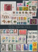 1972+1977 50 klf bélyeg, közte sorok + 2 klf blokk 2 stecklapon