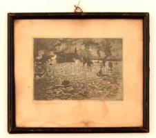 Krón Béla (1884-1965): Kikötő. Rézkarc, papír (foltos), jelzett, üvegezett keretben, 9×13,5 cm