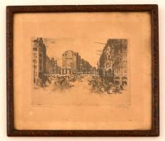 Krón Béla (1884-1965): Hamburg. Rézkarc, papír (foltos), jelzett, üvegezett keretben, 9×13,5 cm