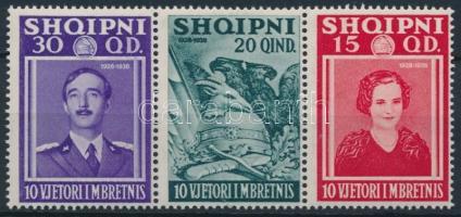 King Zogu I. stripe of 3 from block, I. Zogu király hármascsík blokkból kitépve