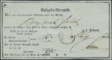 1860 Aufgabs-Recepisse ,,TEMESVÁR