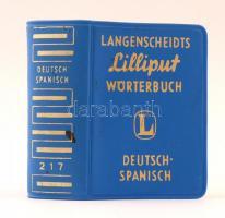 Langenscheidts Lilliput Wörterbuch, Deutsch-Spanisch. Berlin, é.n. ,Langenscheidts KG , 638 p. Kiadói nyl-kötés.