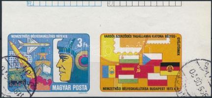 1973 Katona bélyeggyűjtők nemzetközi kiállítása ívsarki vágott szelvényes bélyeg (3.000)