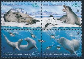 WWF Leopárdfóka sor négyestömbben WWF Leopard Seal set block of 4