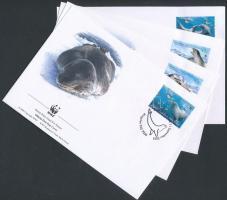 WWF Leopard Seal set 4 FDC, WWF Leopárdfóka sor 4 db FDC-n