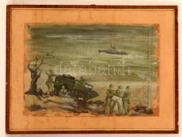 Olvashatatlan jelzéssel: Gyakorlat Opál 72. Olaj, újságpapír, üvegezett keretben, 31×47 cm