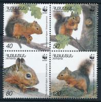 WWF Squirrels set block of 4, WWF Mókusok sor négyestömbben