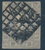 1858 Hírlapbélyeg szürkéslila, ritka esztergomi néma bélyegzéssel