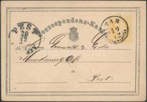 1870 Díjjegyes levelezőlap TAB - PEST
