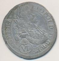 Ausztria 1690. 6kr Ag I. Lipót MM verdejel (2,80g) T:2- ki. Austria 1690. 6 Kreuzer Ag Leopold I MM mint mark (2,80g) C:VF cracked Krause KM#1185