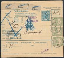 1901 Csomagszállító Bukovinába három csomagról 1,80K bérmentesítéssel HÉTHÁRS - CZERNOWITZ