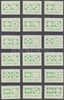 180 db gyufacímke 10 db kartonlapon dominó és reklám témában