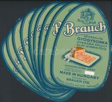 cca 1930 Brauch gyógysonka címkéje 10 db, mind szép állapotban / 10 ham labels 19x12 cm
