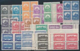 1926 Pengő-fillér (I) A sor négyestömbökben / Mi 411-426 margin block of 4 (100.000) (apró ráncok / small creases)