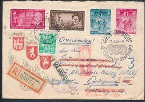 1955 Nemzetközi Kerékpáros békeverseny alkalmi bélyegzés később Magyarországra feladott ajánlott levélen