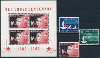 1963 Vöröskereszt sor Mi 138-140 + blokk 2