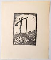 Andor Loránd (1906-1966):Gémeskút. Linó, papír, jelzés nélkül, 13×10 cm