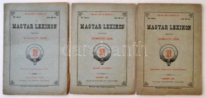 Somogyi Ede (szerk.): Magyar Lexikon 3 száma. ( 26.,27.,36. számok.) Budapest, 1879, Rautmann Frigyes. Kiadói papírkötés. Három melléklettel. 26-27. füzet felvágatlan példányok.