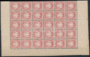 Mi 33 sheet part of 30 incl. plate varieties, Mi 33 30-as ívdarab benne Mi 33 II és III lemezhibák / sheet part of 30 incl. plate varieties