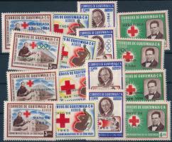 1961-1964 Red Cross set, 1961-1964 Vöröskereszt sor 4 különböző felülnyomással
