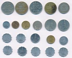 Izrael 1a-1L (21x) fémpénz tétel T:2,2- Israel 1 Agora - 1 Lira (21x) various metal coins C:XF,VF