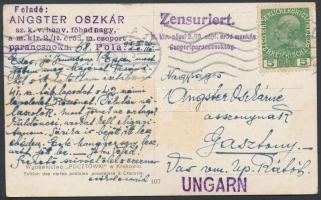 1915 Tábori posta képeslap 5h bérmentesítéssel M.kir. pécsi 2./19 népf. erőd munkás Csoportparancsnokság. + POLA