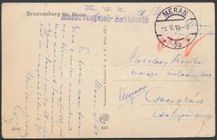 1918 Tábori posta képeslap K.u.k. Reservespital Zavidovlo + MERAN