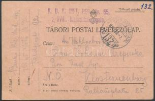 1916 Tábori posta levelezőlap K.U.K. INFT. REG. No.65. 2/XVIII. Marschkompagnie + HP 132
