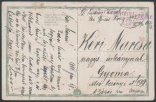 1918 Tábori posta képeslap K. und K. Reservespital Hrag. Nr.