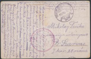 1918 Tábori posta képeslap M.KIR. 40. HADOSZTÁLY KIKÉPZŐ CSOPORT + TP 650